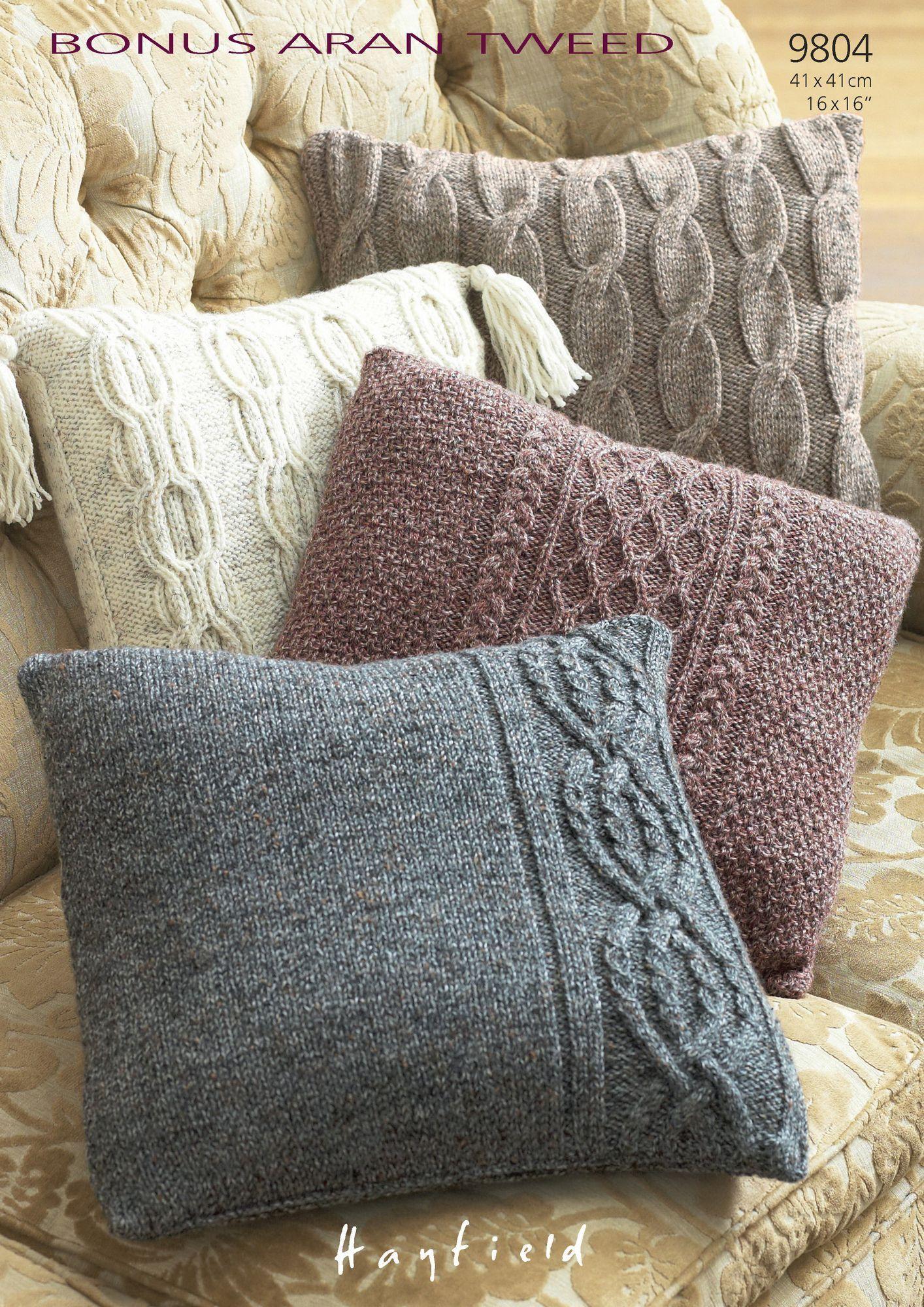 Cushion Covers In Hayfield Bonus Aran Tweed 9804