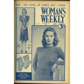 Cover of 1940s Woman's Weekly featuring retro womens ribbed sweater
