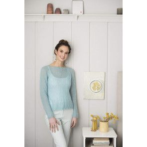 Ladies mohair jumper with lacy edge