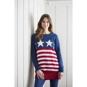 stars and stripes ladies sweater in longer length knitting pattern