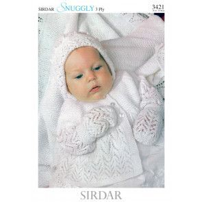 Matinee Jacket, Bonnet, Bootees, Mittens and Shawl Sirdar Snuggly 3 Ply (3421)