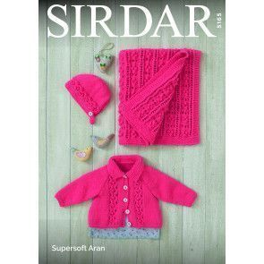 Baby Girl's Jacket, Bonnet and Blanket in Sirdar Supersoft Aran (5165)