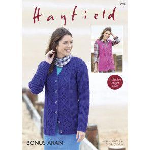 Cardigan and Waistcoat in Hayfield Bonus Aran (7900)