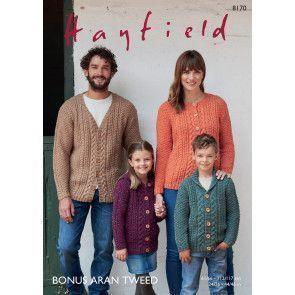 Cardigans in Hayfield Bonus Aran Tweed (8170)