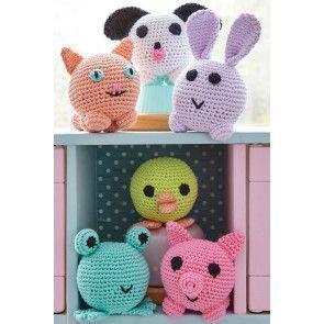 Crocheted amigurumi cat, dog, rabbit, frog, chick and pig