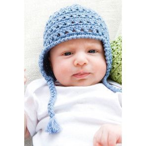 Crocheted baby hat with plaited tassels