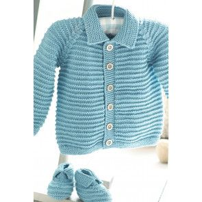 Baby Boys Cardigan And Booties Knitting Pattern - The Knitting Network