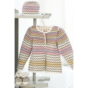 Knitted hat, coat and booties for a baby with mix of zig zag chevrons and stripes