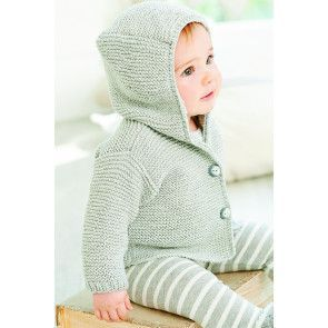 Unisex baby duffle coat that can be knitted for boys or girls