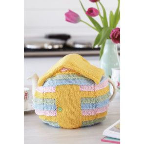 Knitted beach hut tea cosy