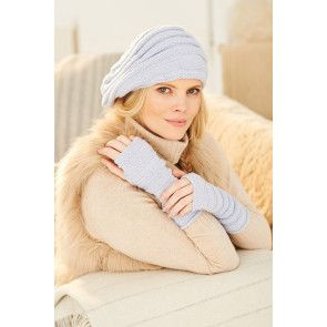Knitted slouch beret with matching fingerless gloves