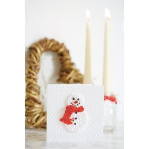 Snowman crochet Christmas card with jaunty red scarf