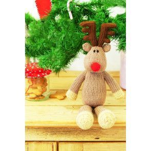 Knitted Christmas reindeer toy with red nose