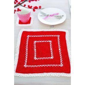 Festive crochet coaster and tablemat set
