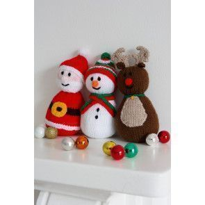 Jolly knitted Santa, reindeer and snowman set