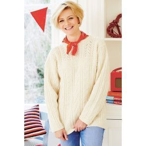 Knitted cable sweater for a woman with round neck and long sleeves