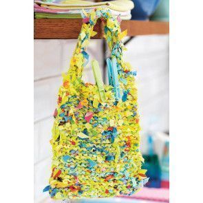 Knitted clothes peg bag made from scraps of fabric