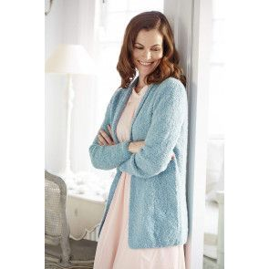 blue edge to edge boucle style cardigan knitting pattern