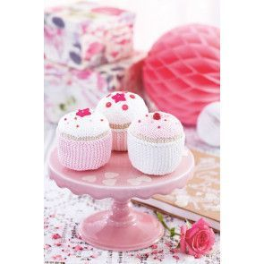 Cute crocheted cupcakes in case