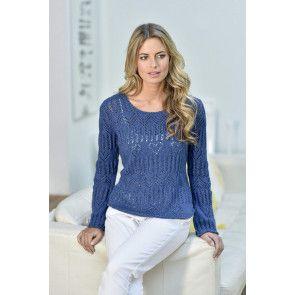 Blue scoop neck Women's Heart Eyelet Lace Sweater Knitting Pattern