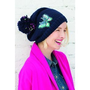Ladies' navy winter hat with bobble and embroidered butterfly