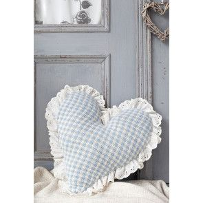 Knitted Fair Isle gingham heart cushion with fabric trim