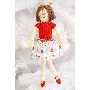 Knitted Christmas fairy with knitted jumper and shoes with fabric skirt and wings