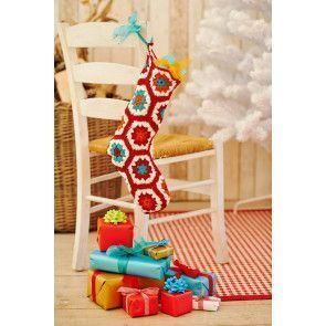 Crochet knitted Christmas stocking with granny hexagons