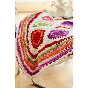 Flower Garden blanket with crocheted squares