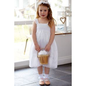 Wedding flower girl dress with crochet bodice