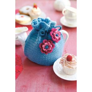 Crocheted tea cosy with two crochet flowers and drawstring top