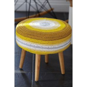 Crocheted footstool cover to fit seat 38cm diameter x 13cm deep