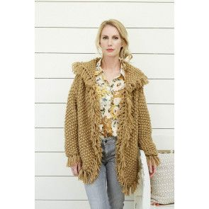 Women's Chunky Collared Fringe Edge Jacket Knitting Pattern