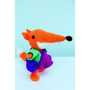 Crocheted lady fox toy with bright dress