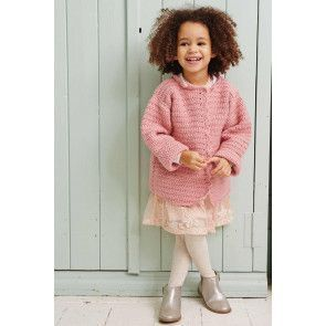 Pink knitted girl's cardigan with scalloped edge