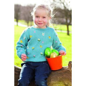 Knitted jumper for girls with Easter motifs