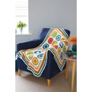Crochet granny square throw