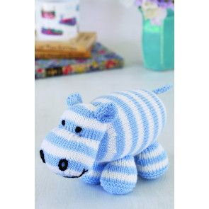 Blue and white striped knitted hippo toy