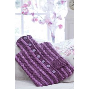 Striped crochet hot water bottle cover in jumper style with buttons and pocket