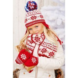 Knitted children's knitted winter Fair Isle set of pom-pom hat with ear warmer flaps, scarf and mittens