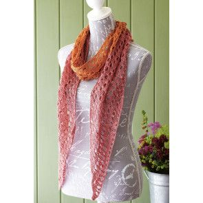 Ladies' knitted scarf with eyelet detail