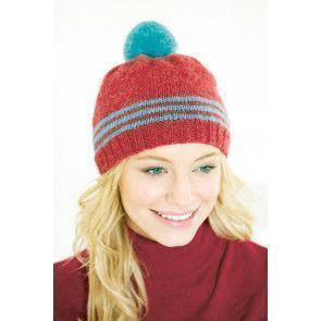 Knitted hat for women with stripes and bobble
