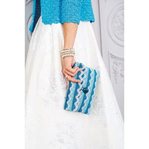 Crocheted clutch bag with zig-zag pattern with shades of blue and grey