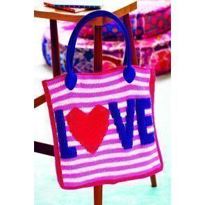Knitted tote bag with love motif and stripes