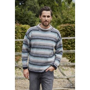 mens striped jumper with round neck and dropped sleeves