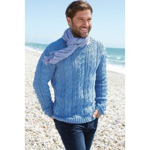 Knitted cable sweater for a man with long sleeves in denim blue