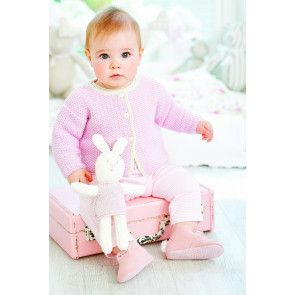 Baby girl wearing pale pink moss stitch knitted cardigan