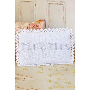 Crocheted oblong Mr & Mrs wedding cushion with lace edge