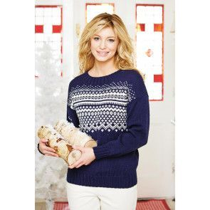 Knitted women's jumper with Scandi-inspired Fair Isle pattern