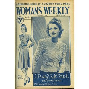 Cover of 1940s Woman's Weekly featuring retro womens textured sweater
